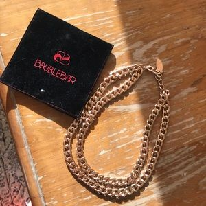 NWT Baublebar Rose Gold Double Chain Necklace